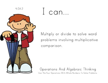 Rainy day Kids Theme 4th grade math Common Core Posters fourth Grade Standards