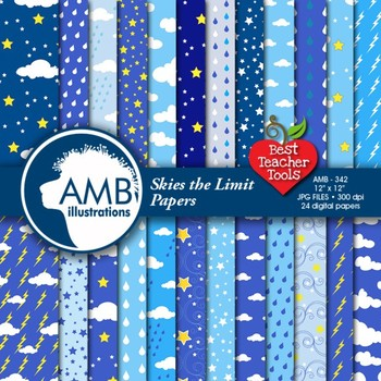 Rainy Day Digital Papers Weather Backgrounds { Best Teacher Tools } AMB-342