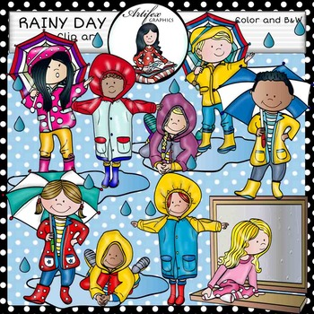 Rainy day clip art. Color and B&W