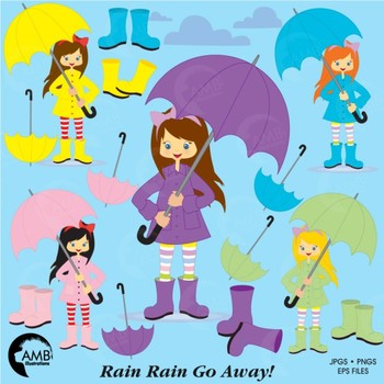 Rainy Day clipart, Girl Clipart, Weather Clip Art, AMB-220