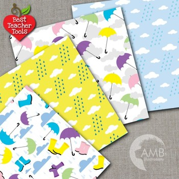 Rainy Day Digital Papers and Backgrounds, {Best Teacher Tools}, AMB-451