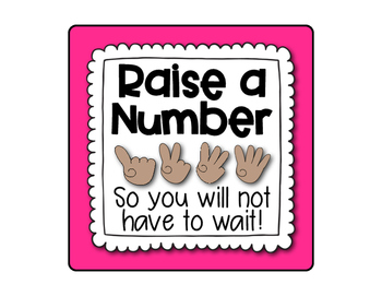 Raise A Number Posters for Classroom Management - Rainbow Bright
