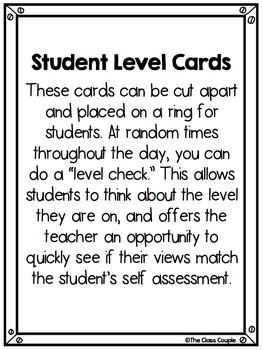 Raise Responsibility Student Behavior Level Cards