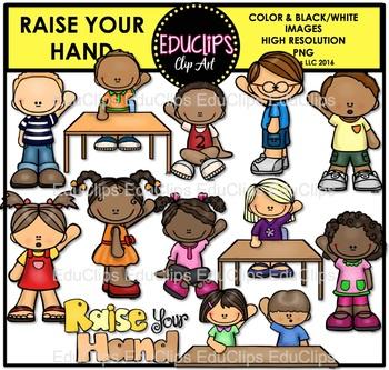 Raise Your Hand Clip Art Bundle {Educlips Clipart}