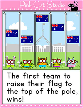 Raise the Australian Flag Review game for the SmartBoard and Computers