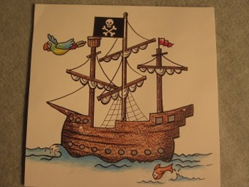 Raise the Pirate Flag on the Ship. Fun Craft Art
