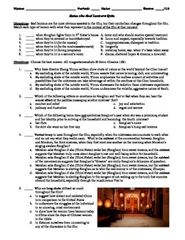Raise the Red Lantern Film (1991) 15-Question Matching and Multiple Choice Quiz