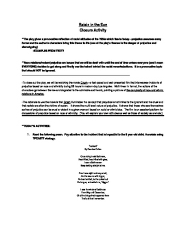 Raisin in the Sun Closure Activity (Race Relations/Racism/