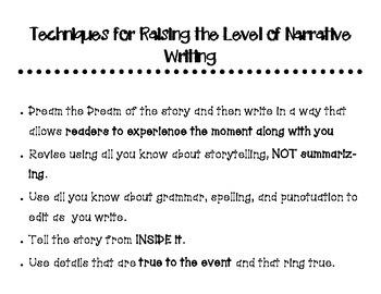 Raising Narrative Writing