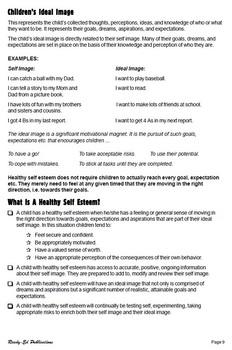 Raising Self Esteem: Teachers' Notes