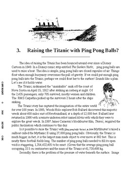 Raising the Titanic with Ping Pong Balls. Science Literacy w Follow-up Question