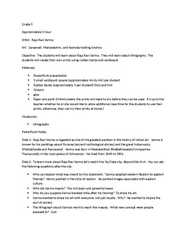 Raja Ravi Varma Lesson Plan