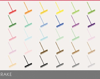 Rake Digital Clipart, Rake Graphics, Rake PNG, Rainbow Rak