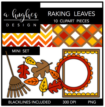 Raking Leaves Mini Clipart Set {A Hughes Design}