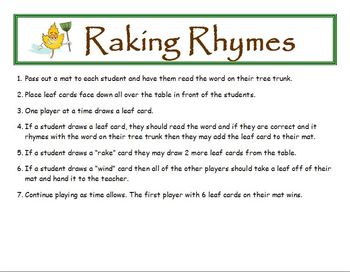 Raking Rhymes Fall Phonics Game Activity Word Families Short i