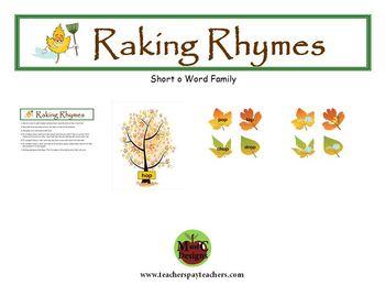 Raking Rhymes Fall Phonics Game Activity Word Families Short o