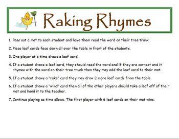 Raking Rhymes Fall Phonics Game Activity Word Families Short u