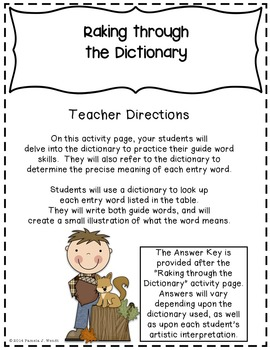Raking Through the Dictionary - Fall Theme CCSS Guide Words Activity