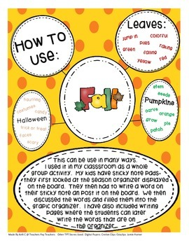 Seasons Graphic Organizers to Improve Vocabulary and Writing