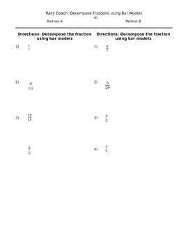 Rally Coach- Decomposing Fractions Using Bar Models