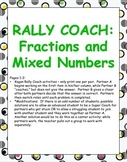 Rally Coach: Fractions and Mixed Numbers FREEBIE