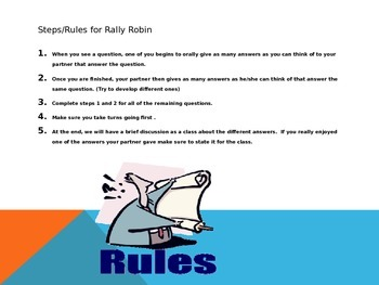 Rally Robin Powerpoint Activity for Frankenstein chapters 11-16