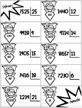 Rallye des Superhéros La division (crochet) sans reste // french math game