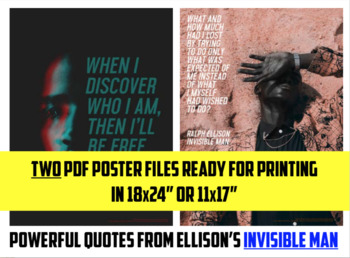 Ralph Ellison / Invisible Man POSTERS set of 2 LITERARY QUOTES 18x24 PRINTABLE