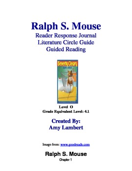 Ralph S. Mouse Reader Response/ Literature Circle/ Book study