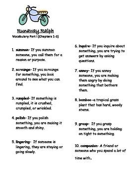 Runaway Ralph-Spelling & Vocabulary (2 weeks)