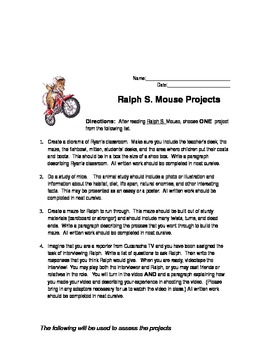 Ralph S. Mouse by Beverly Cleary Project Ideas