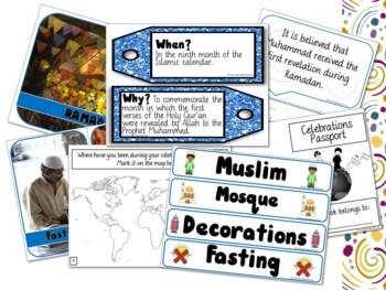 Ramadan Celebration Bundle Posters, Word Wall, Student Workbook