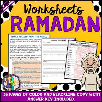 Ramadan Celebration Worksheets (Blackline copy with Answer Key Included)