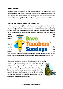 Ramadan Lesson plan,Information Text and Worksheets