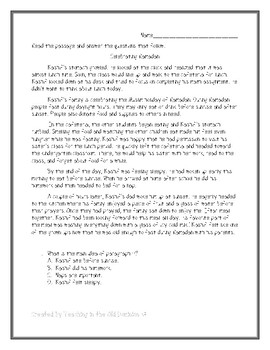 Ramadan Reading Passage with Comprehension