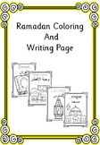 Ramadan coloring and writing page in English and arabic
