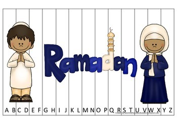 Ramadan themed Alphabet Sequence Puzzle.  Preschool learning game.
