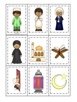 Ramadan themed Memory Matching Cards.  Preschool learning game.