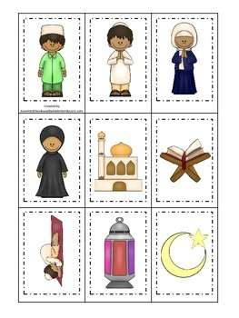 Ramadan themed Memory Matching Cards.  Preschool learning game.