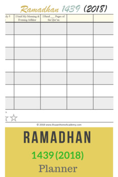 Ramadhan 1439 (2018) Simple Activity Planner