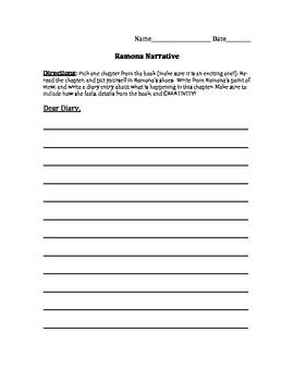 Ramona Diary Entry (Can work for ANY Ramona book!)