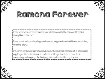 Ramona Forever - Fluency Cards