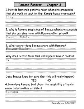 Ramona Forever Literature Unit
