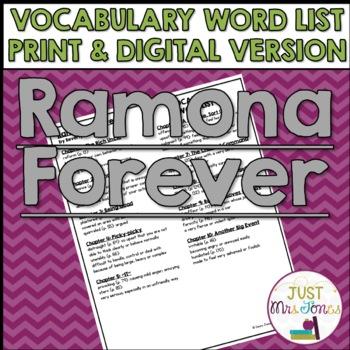 Ramona Forever Vocabulary Word List