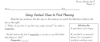 Ramona Quimby Age 8 Chapter 2 Context Clues Vocabulary