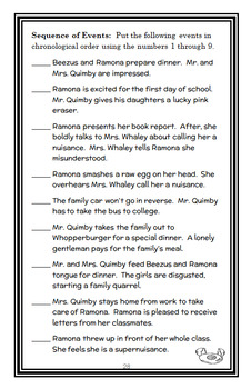Ramona Quimby, Age 8 (Beverly Cleary) Novel Study / Reading Comprehension