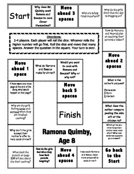 """""""Ramona Quimby, Age 8"""" Comprehension Game Board- Journeys story 3rd grade"""