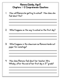 Ramona Quimby, Age 8 Comprehension Questions