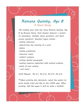 Ramona Quimby, Age 8 Comprehension booklet