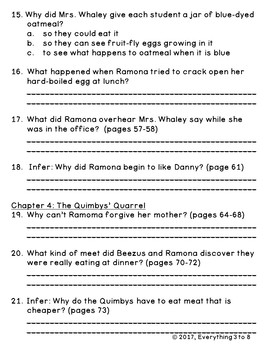 Ramona Quimby Age 8 Level O Comprehension Chapter Questions and Book Quiz